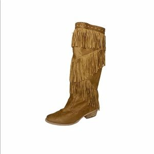 NOT RATED Boho Faux Leather Fringe Moccasin Boot